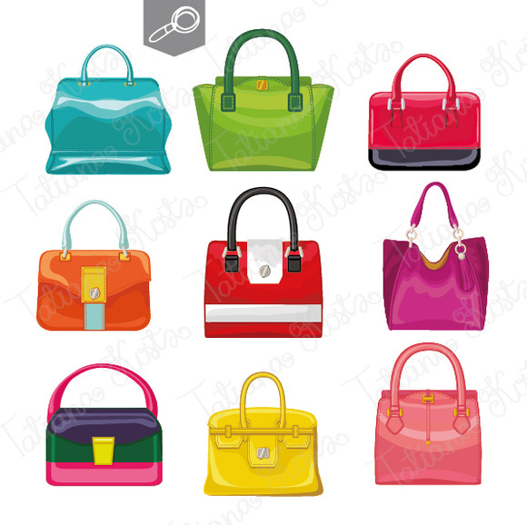 9 Colored women's handbags. Vector - Illustrations