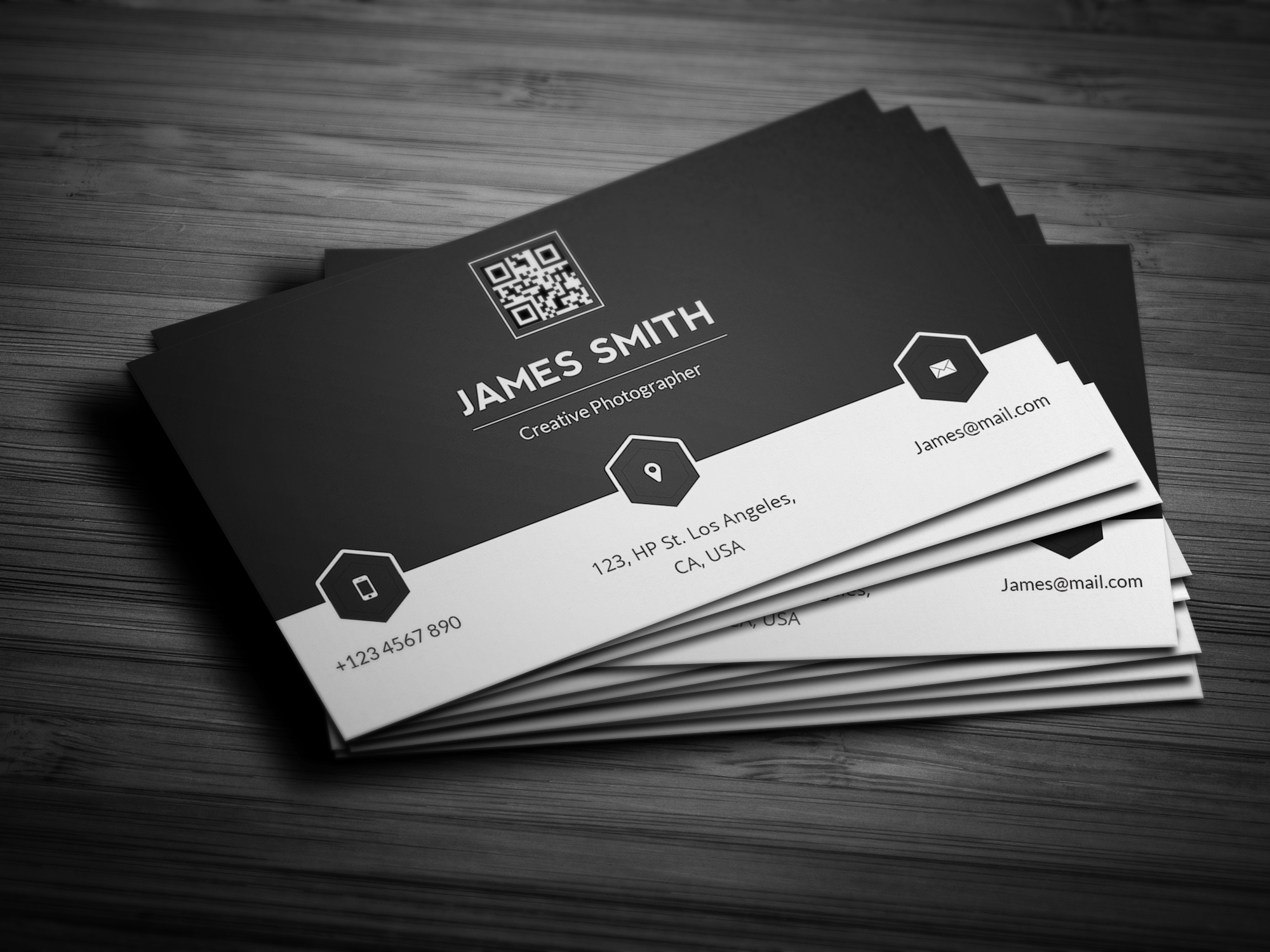 black white minimal business card business card templates on creative market. Black Bedroom Furniture Sets. Home Design Ideas