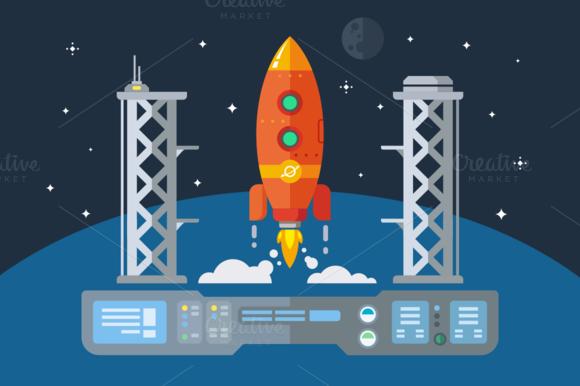 Rocket Startup Flat Illustration