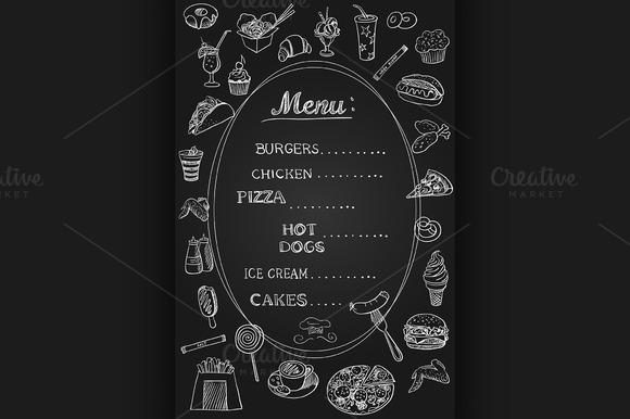 Food Menu On Chalkboard