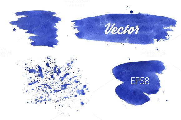 Vector Watercolor Spots And Splash