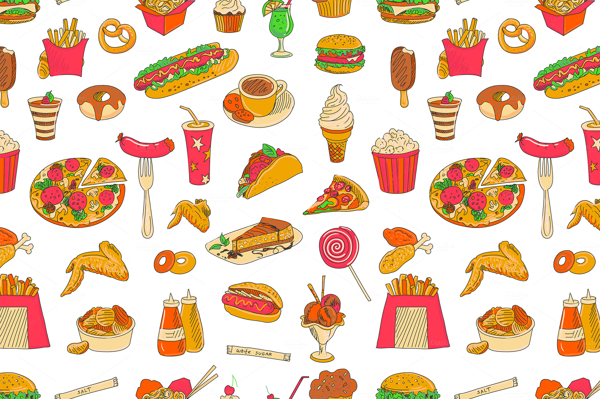 colored hand drawn fast food patte patterns on creative