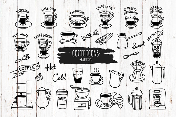 Hand Drawn Coffee Icons And Patterns