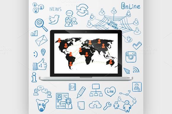 Laptop Social Media Design