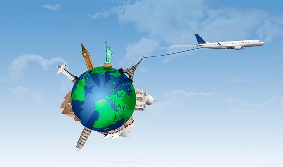 Plane Pulling The World Travel