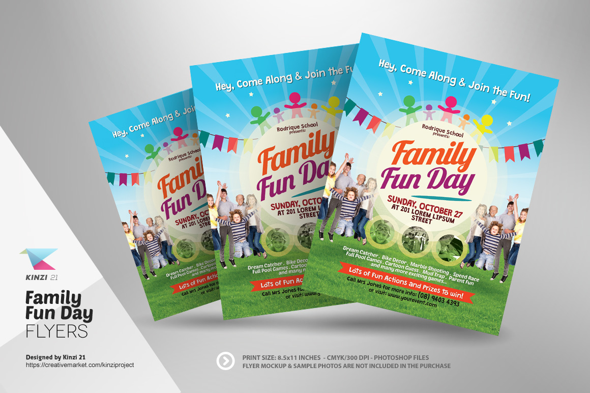 Family fun day flyers flyer templates on creative market for Fun brochure templates