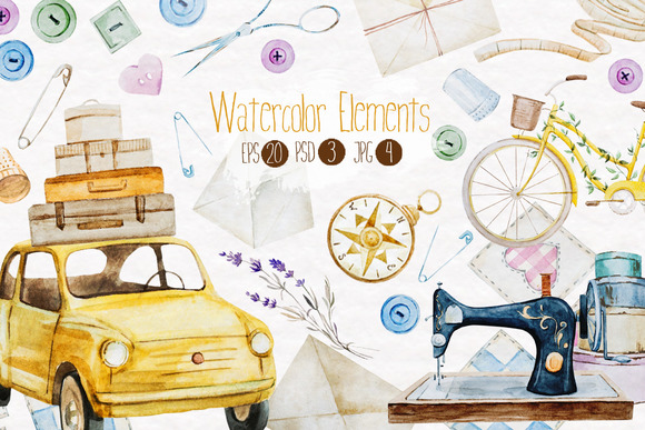 Watercolor elements v.1 - Objects