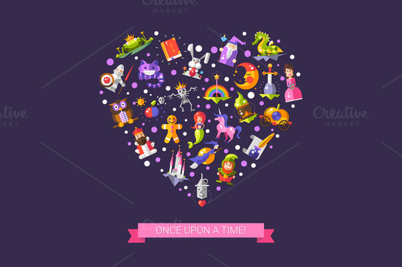 Fairy Tales Icons Heart Composition