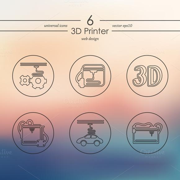 Set Of 3D Printer Icons