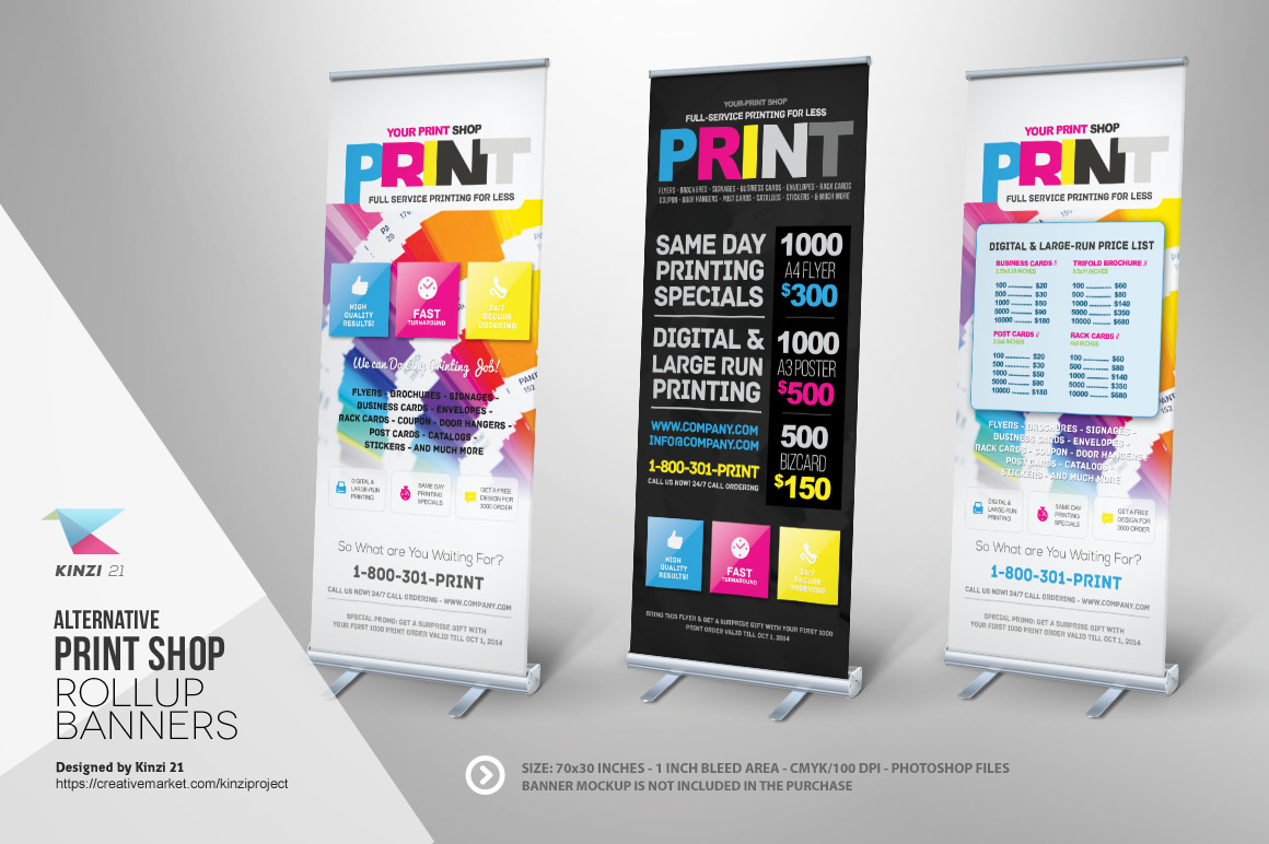 print shop roll up banner templates templates on creative market. Black Bedroom Furniture Sets. Home Design Ideas