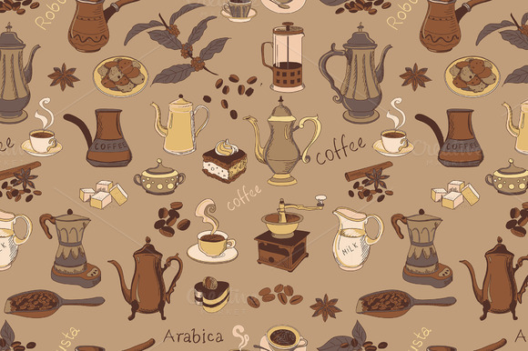 Colored Coffee Seamless Pattern