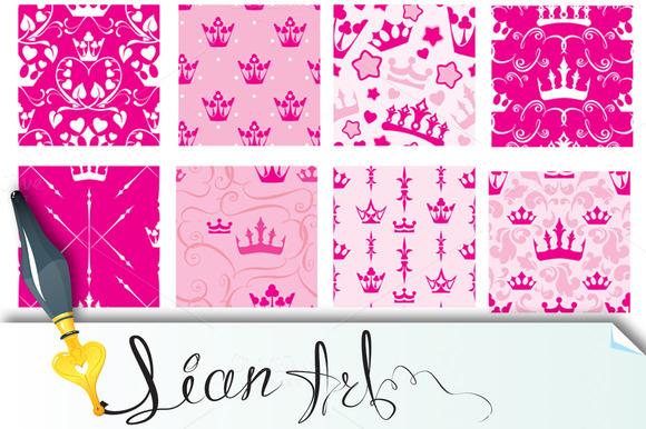 Princess Crowns Seamless Patterns