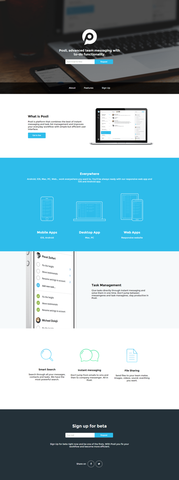 Posli One-page App HTML5 Template