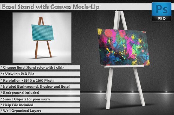 Easel Stand With Canvas MockUp