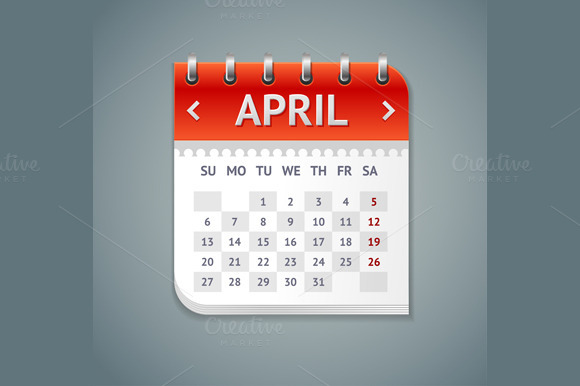 Vector Calendar April With Dates Set