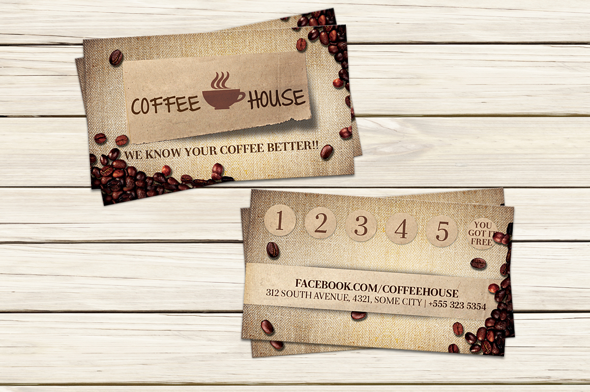 Coffee shop business card template business card for Coffee business