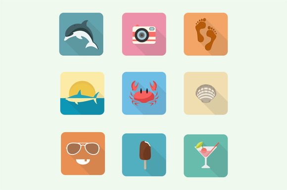 Colorful Summer Icon Set