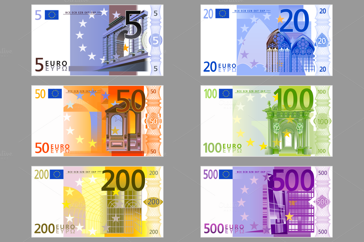 Euro Banknotes Illustrations On Creative Market