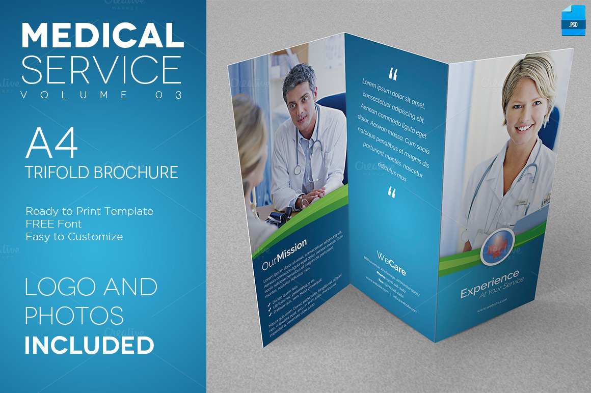 Medical Service A4 Trifold Flyer 03 Flyer Templates On Creative Market