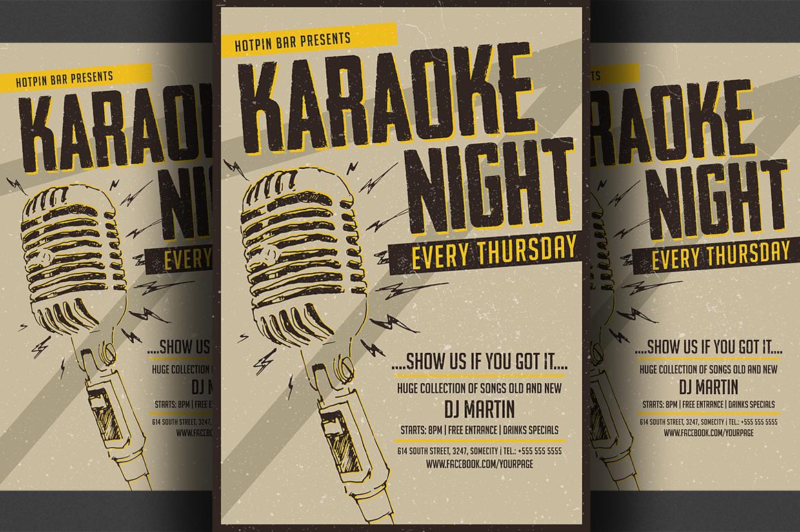 karaoke night flyer  poster template