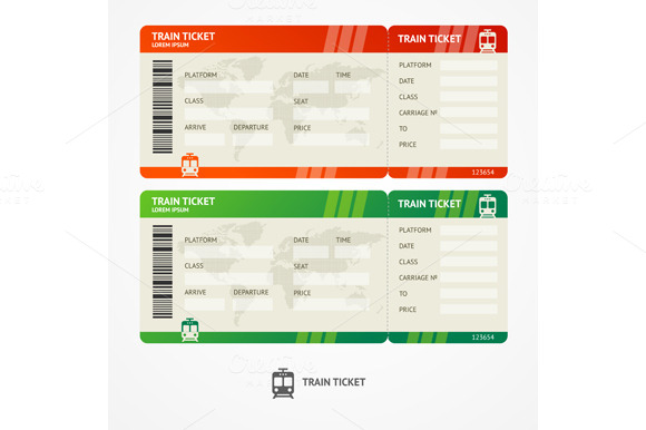 train ticket template word - vector train tickets objects on creative market