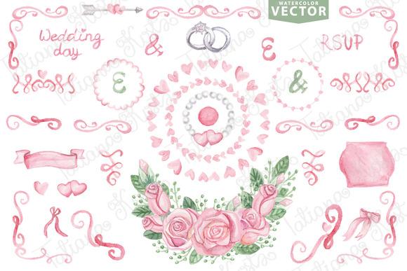Watercolor vector.Pink wedding set 1 - Illustrations