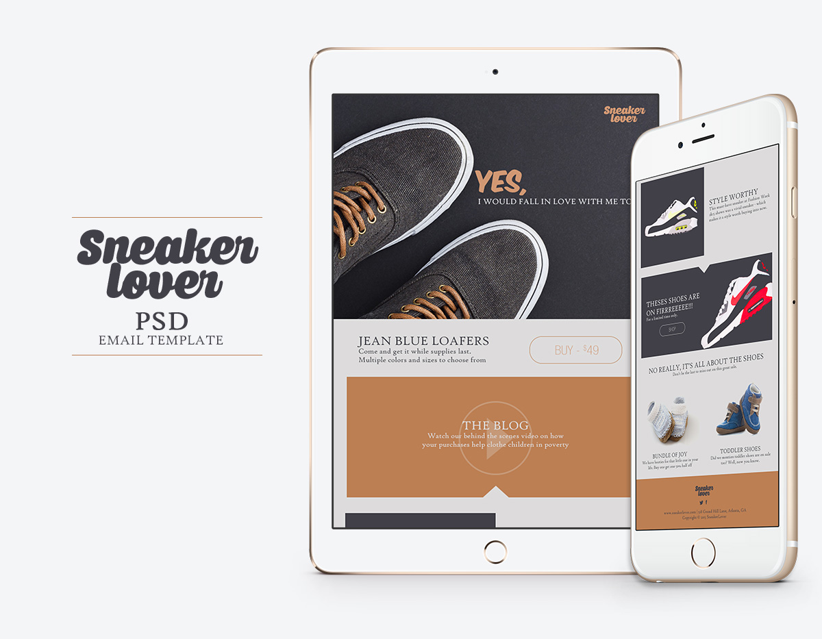sneakerlover email template psd email templates on creative market. Black Bedroom Furniture Sets. Home Design Ideas