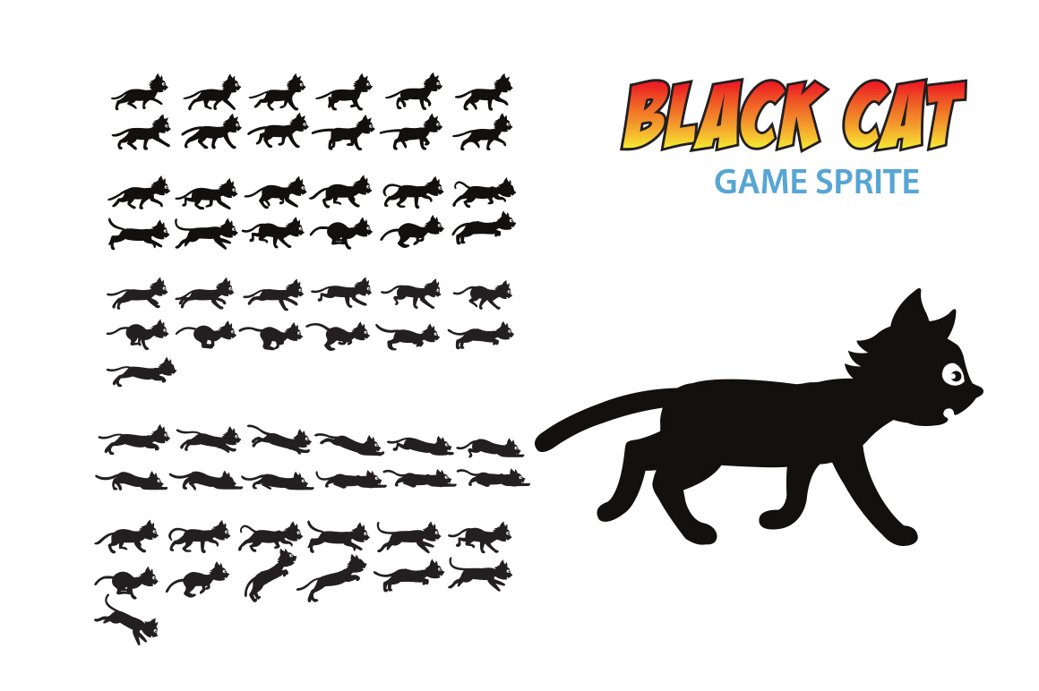 Black Cat Game Sprite Illustrations On Creative Market
