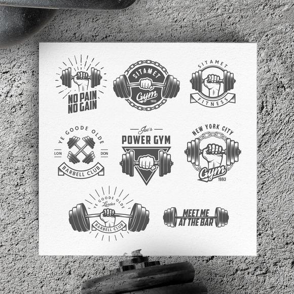 Vintage Gym Logos & Design Elements