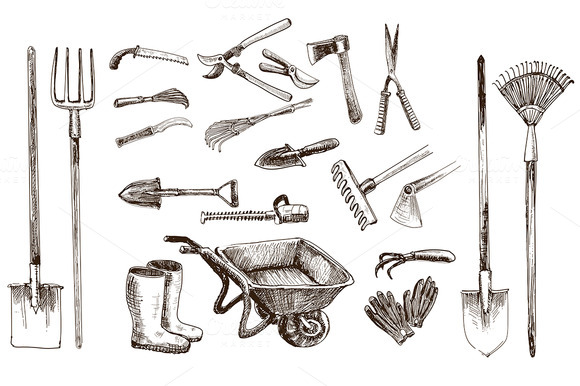 Garden tools 21 vector objects illustrations on for Gardening tools drawing with names