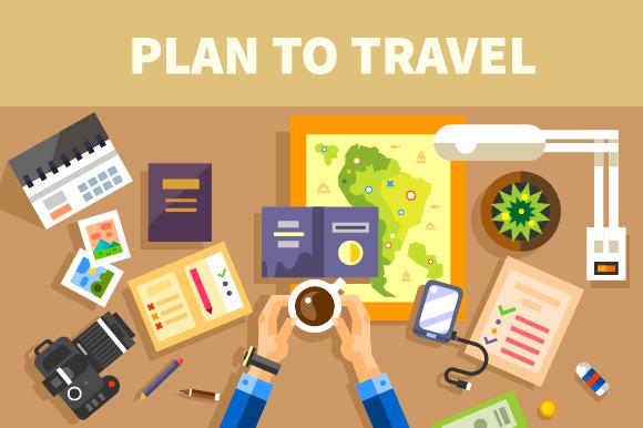 Plans for the trip. Set of traveler - Illustrations