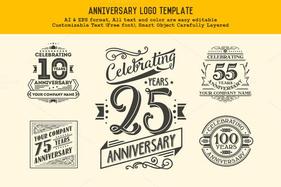 Anniversary logo template templates on creative market
