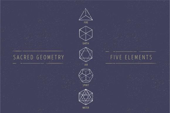 5 Elements Sacred Geometry Icons