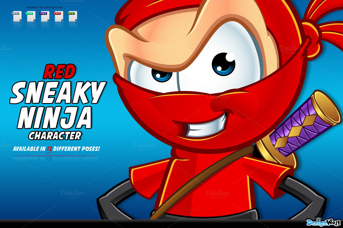 Red Sneaky Ninja Character ~ Illustrations on Creative Market