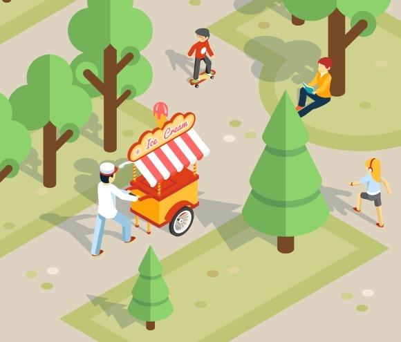 Ice Cream Seller Rolls Trolley