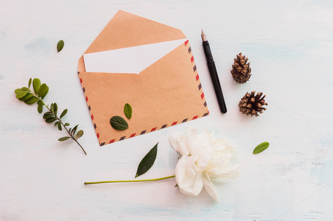 48 Eco Rustic Peony Envelope Mockup