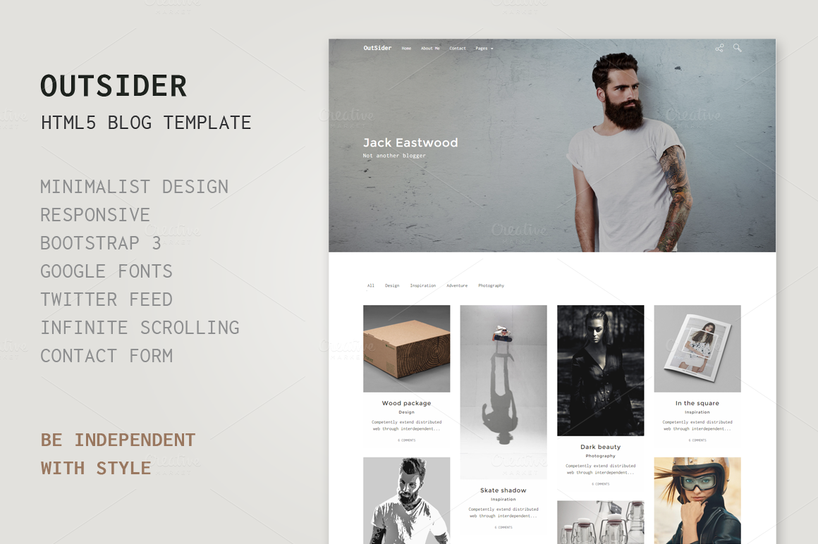outsider html5 blog template bootstrap themes on creative market. Black Bedroom Furniture Sets. Home Design Ideas