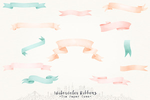 Watercolor Ribbons Cliparts