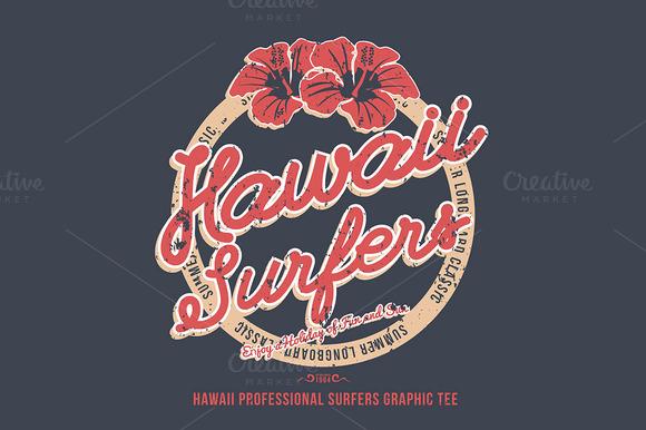 Hawaii surfers. t-shirt graphic - Illustrations