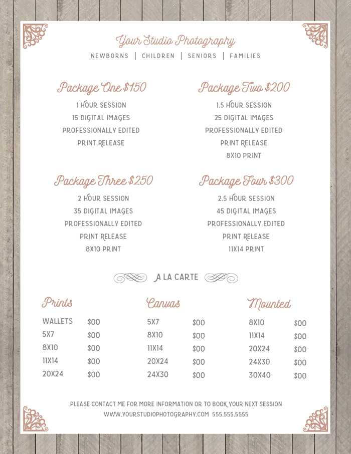 Wedding Photography Package Names: Templates On Creative Market