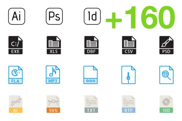 SMASHICONS 160 File Types Icons