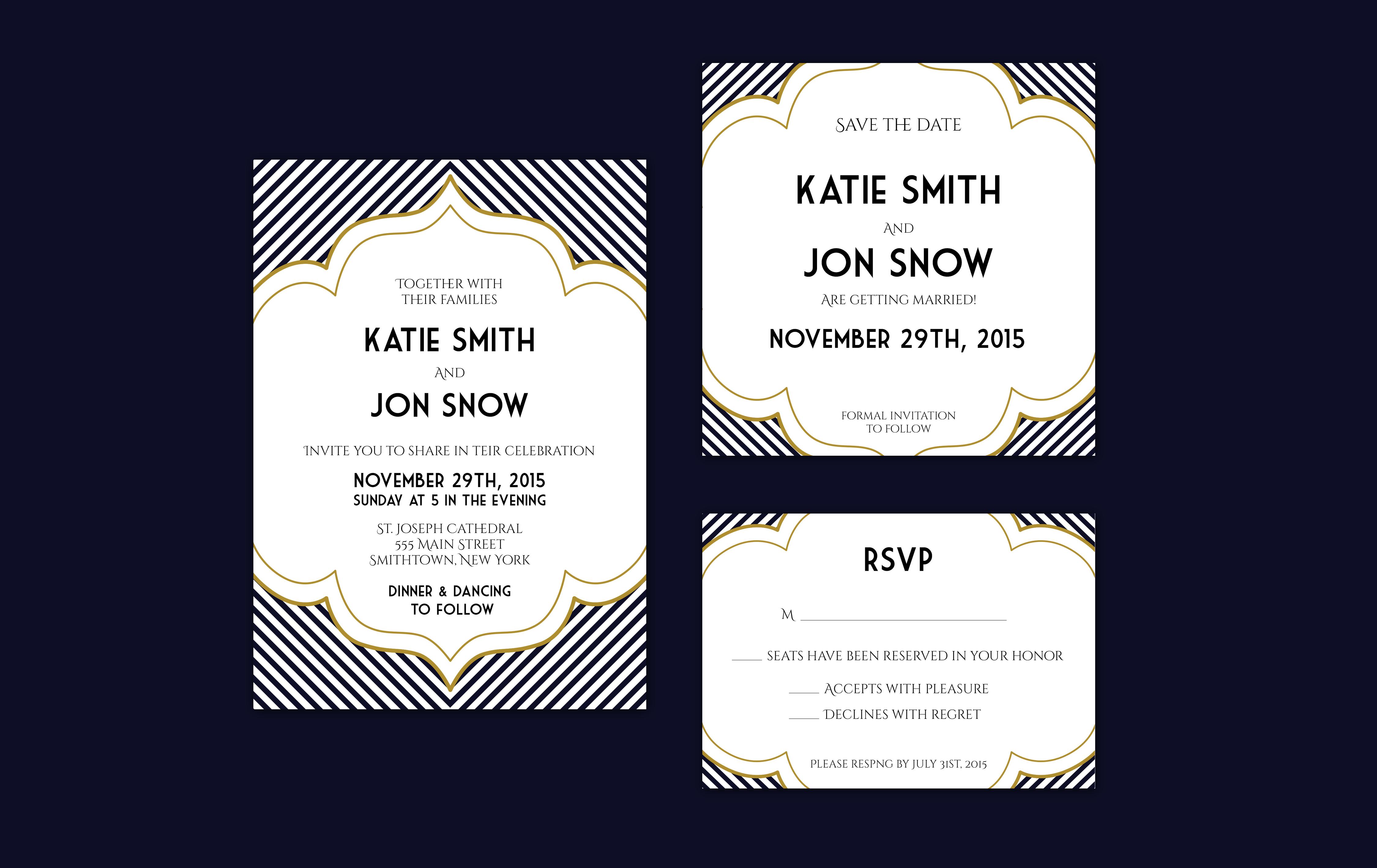 Deco Wedding Invitations: Art Deco Inspired Wedding Invitation