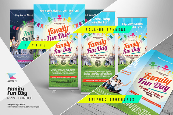 fun brochure templates family fun day print bundle flyer templates on creative