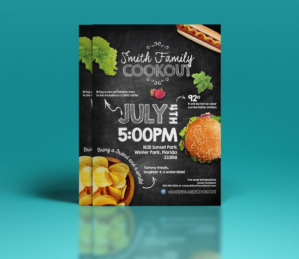 Summer Cookout Party Flyer   Flyer Templates on Creative Market JJee87cw
