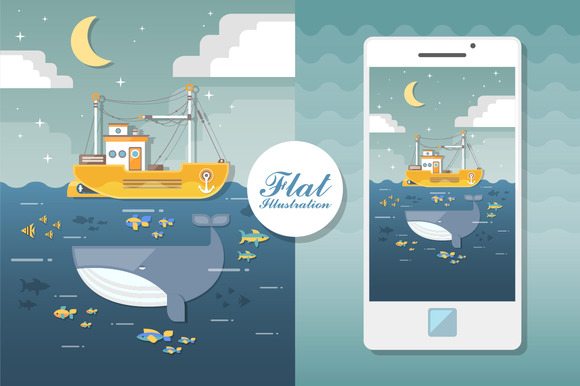 Vector Seascape With Boat And Fishes