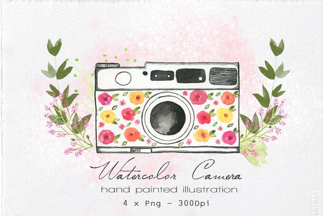 Watercolor Camera Illustration ~ Illustrations on Creative ...
