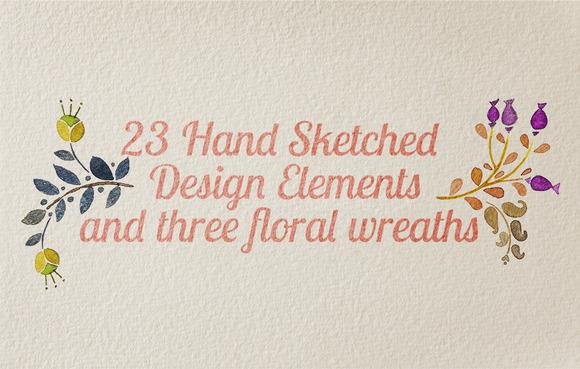 23 Hand Sketched Design Elements
