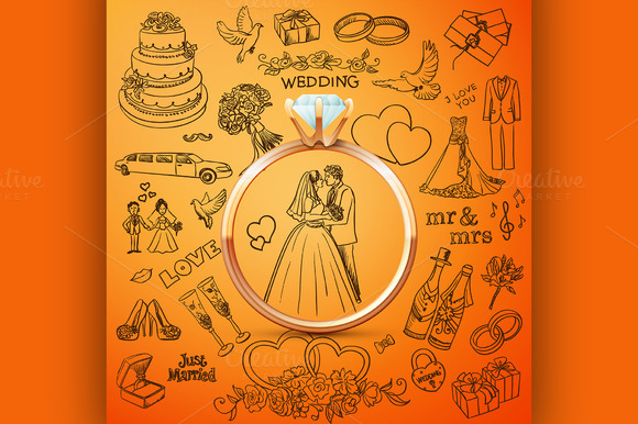 Hand Drawn Collection Of Wedding