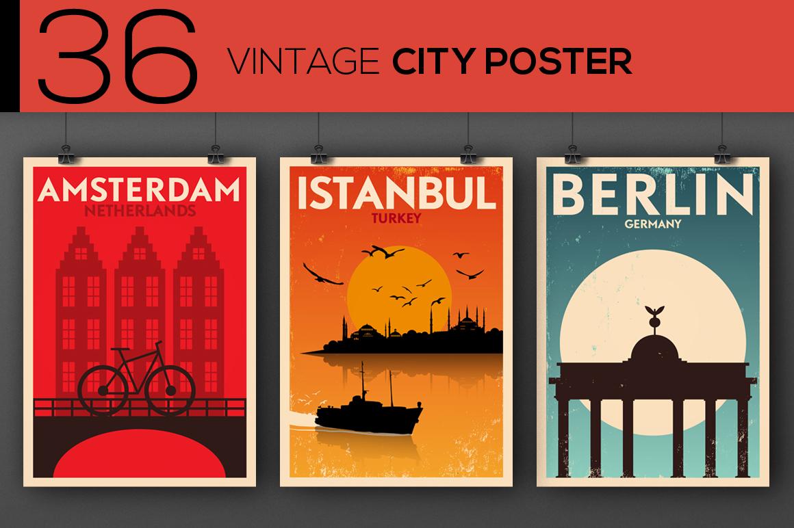 36 Vintage City Posters ~ Illustrations on Creative Market