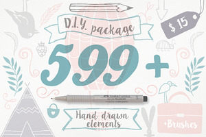 599+ hand draw elements